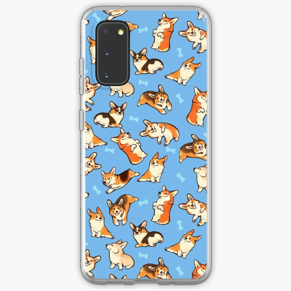 Jolly corgis in blue Samsung Galaxy Soft Case