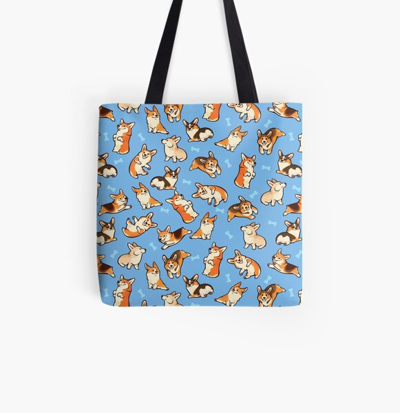 Jolly corgis in blue All Over Print Tote Bag