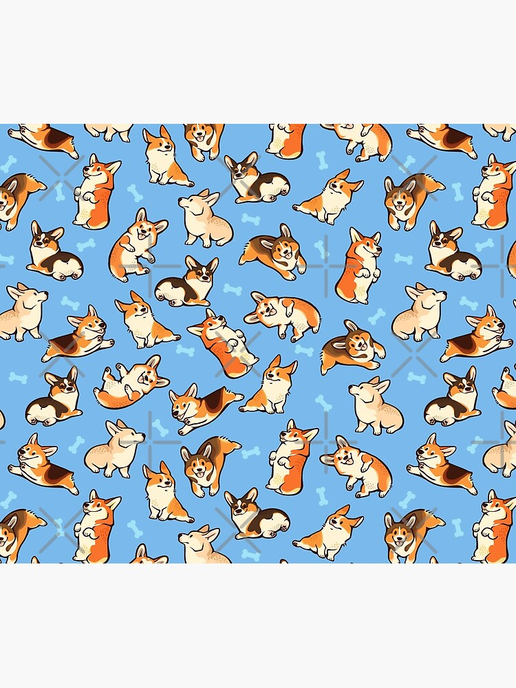 Jolly corgis in blue by Colordrilos