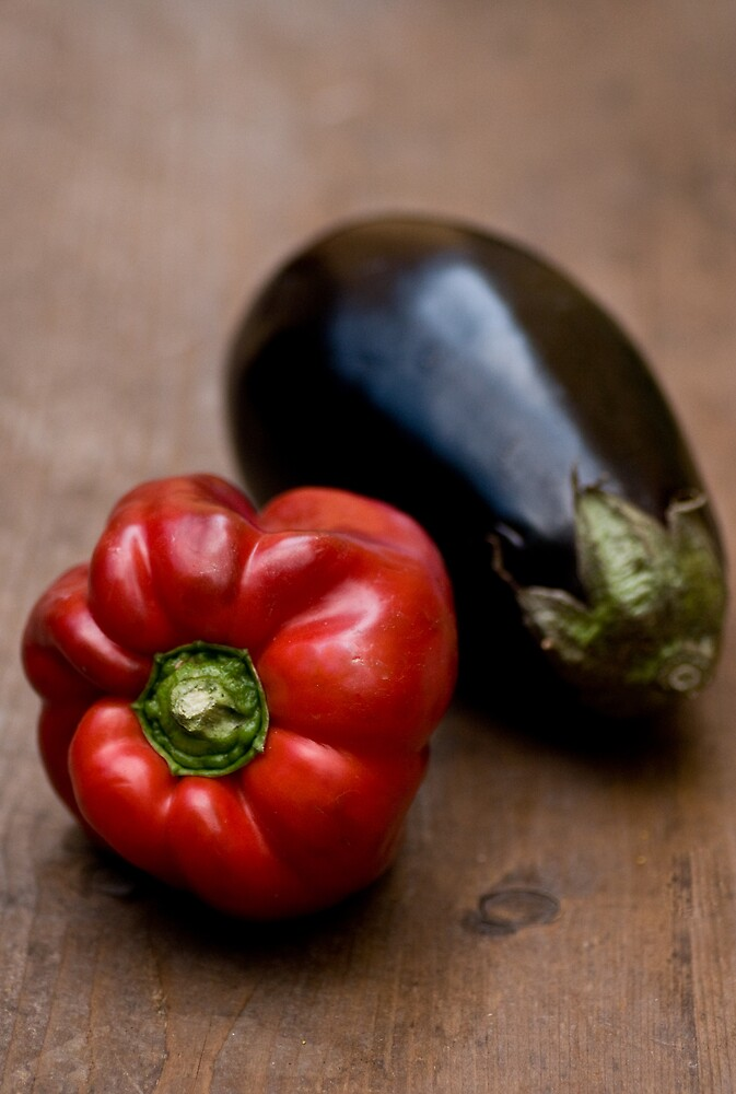 Red Bell Pepper and Eggplant by Ilva Beretta