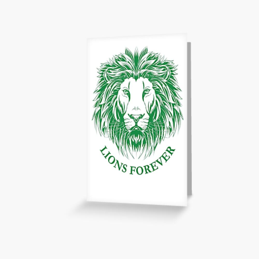 Lions Forever (Grün auf Weiß) Grußkarte