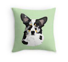 Blue Cardigan Corgi Portrait Throw Pillow