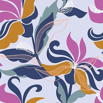 Bold and contemporary floral pattern on a mauve base by Pattern-Design