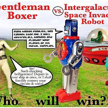 Gentleman Boxer versus Space Invader Robot  by EverSoCleverCo