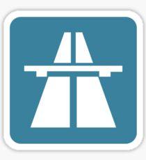 Autobahn tee on blue Sticker