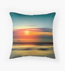 Bright Red - Seascape at Sunset Abstract Throw Pillow