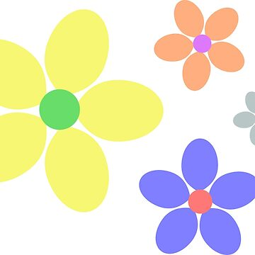 70s Flowers Multicolor Blossoms by xsylx