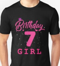 Pink Birthday Girl 7 Unisex T-Shirt
