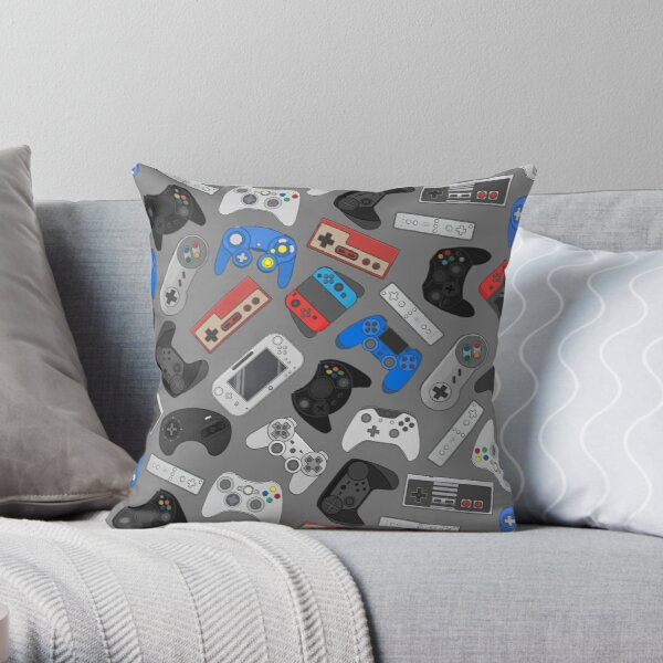Video game controller background Gadgets seamless pattern Throw Pillow