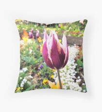 Tulips are better than one 9 - especially in a garden Throw Pillow