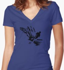 Water-skiing Women's Fitted V-Neck T-Shirt