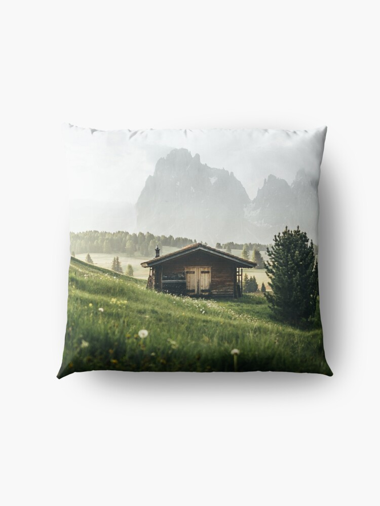 Alternate view of Cabin in front of mountains on Alpe di Siusi  Floor Pillow