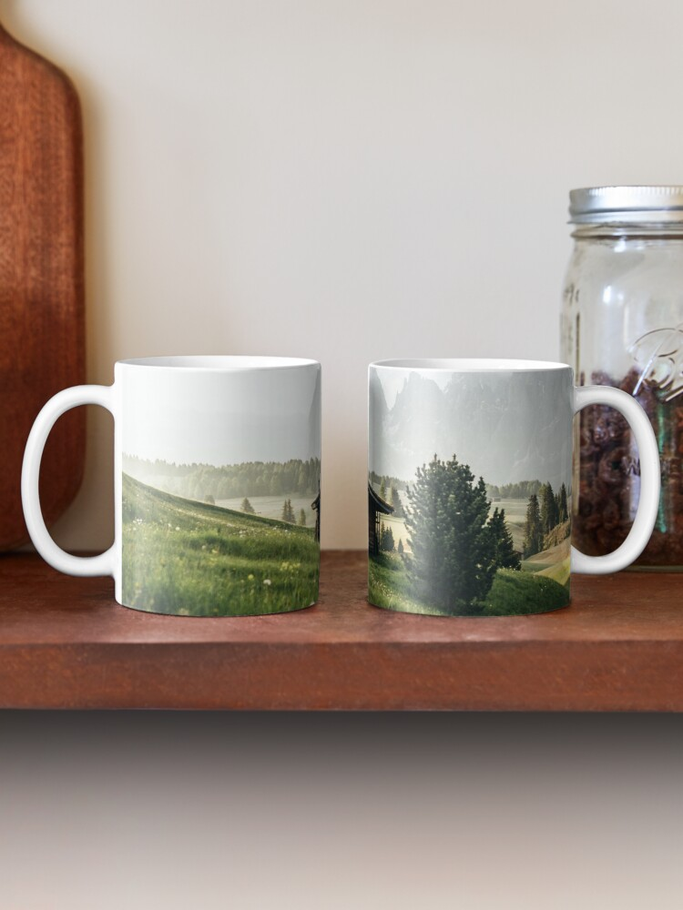 Alternate view of Cabin in front of mountains on Alpe di Siusi  Mug