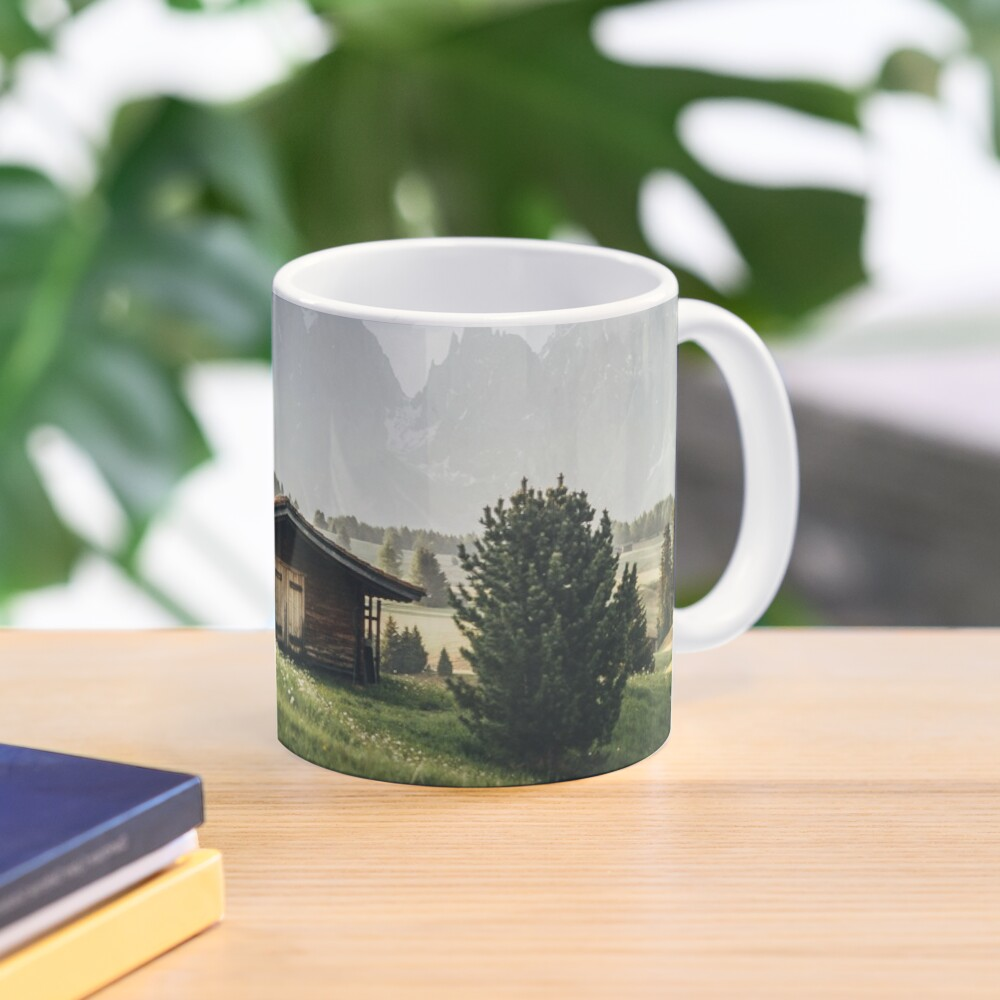 Cabin in front of mountains on Alpe di Siusi  Mug