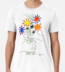 Pablo Picasso Blumenstrauß des Friedens 1958 (Blumenstrauß mit den Händen), T-Shirt, Artwork Premium T-Shirt