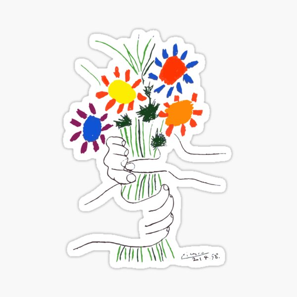 Pablo Picasso Bouquet Of Peace 1958 (Flowers Bouquet With Hands) or Le Bouquet de la Amitié (friendship) Sticker