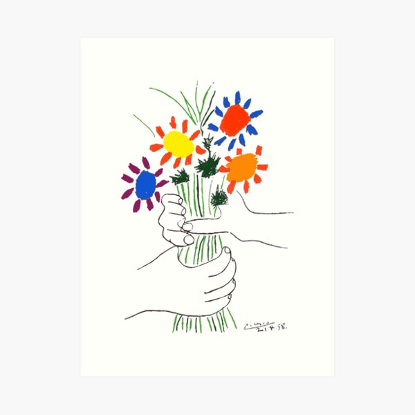 Pablo Picasso Bouquet Of Peace 1958 (Flowers Bouquet With Hands) or Le Bouquet de la Amitié (friendship) Art Print