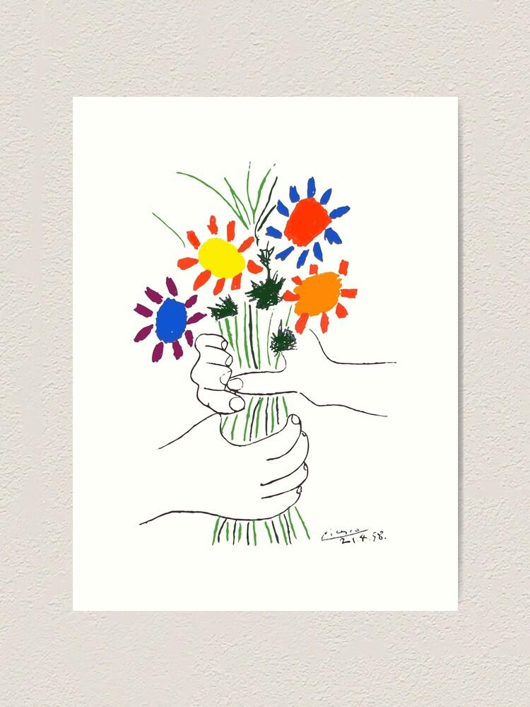 Alternate view of Pablo Picasso Bouquet Of Peace 1958 (Flowers Bouquet With Hands) or Le Bouquet de la Amitié (friendship) Art Print
