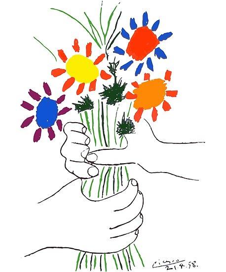 Pablo Picasso Blumenstrauß des Friedens 1958 (Blumenstrauß mit den Händen), T-Shirt, Artwork von Art-O-Rama ®