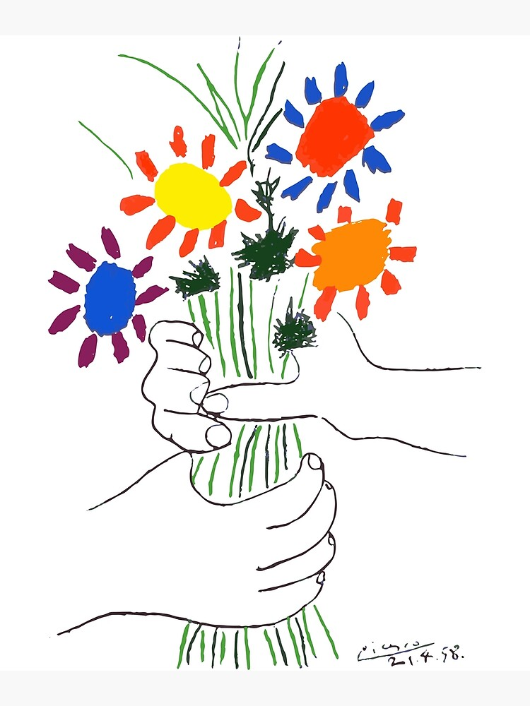 Pablo Picasso Bouquet Of Peace 1958 (Flowers Bouquet With Hands) or Le Bouquet de la Amitié (friendship) by clothorama