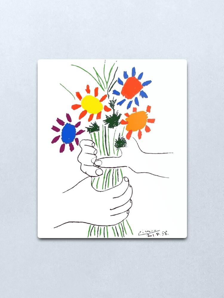 Alternate view of Pablo Picasso Bouquet Of Peace 1958 (Flowers Bouquet With Hands) or Le Bouquet de la Amitié (friendship) Metal Print