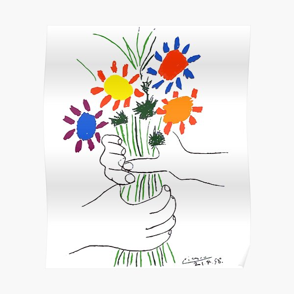Pablo Picasso Bouquet Of Peace 1958 (Flowers Bouquet With Hands) or Le Bouquet de la Amitié (friendship) Poster