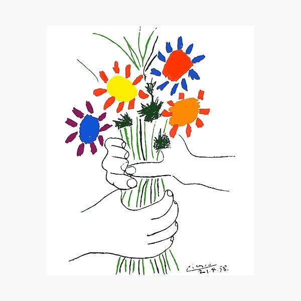 Pablo Picasso Bouquet Of Peace 1958 (Flowers Bouquet With Hands) or Le Bouquet de la Amitié (friendship) Photographic Print