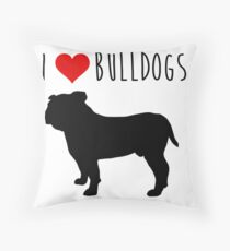 i love buldog Throw Pillow