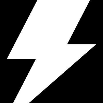 Lightning Bolt Cool Rock Logo white by decentdesigns