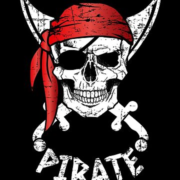 Distressed Pirate Skull Red Bandana by LarkDesigns