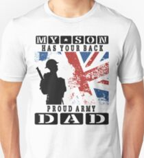 Men's United Kingdom Flag My Son HAS Your Back Proud Army DAD T Shirt Unisex T-Shirt