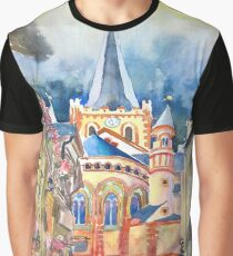 Germany Bacharach Town Watercolor Painting Graphic T-Shirt