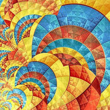Blue yellow orange fractal pattern by pinkal