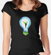 Best Pict Electricity Save Energy Art Drawing Wall Papper Women's Fitted Scoop T-Shirt