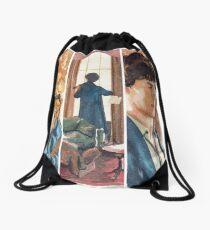 221B, Sherlock and the violin Drawstring Bag