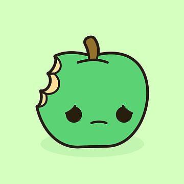 Cute sad apple by peppermintpopuk