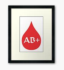 Blood Type AB+ (white/red) Framed Print