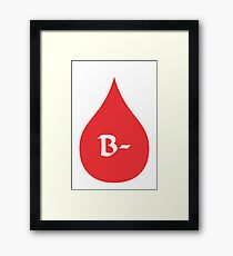 Blood Type B- (white/red) Framed Print