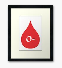Blood Type O- (white/red) Framed Print
