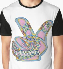 Pink Peace Hand Graphic T-Shirt