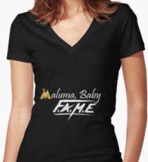 Maluma: Fame Women's Fitted V-Neck T-Shirt