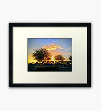 America the Beautiful - Sunset in the South West with a Classic Car and Fast Food Framed Print
