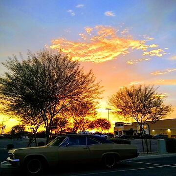 America the Beautiful - Sunset in the South West with a Classic Car and Fast Food by couchcrumbs