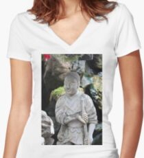 Be as relaxed as this Thai monk Women's Fitted V-Neck T-Shirt