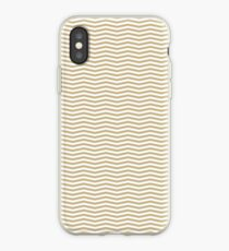 Gold and White Christmas Wavy Chevron Stripes iPhone Case
