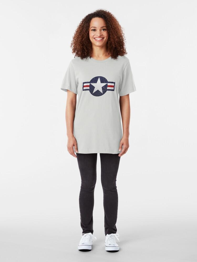 Alternate view of U.S. Military Aviation Star National Roundel Insignia Slim Fit T-Shirt