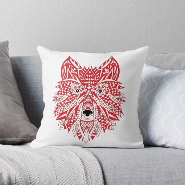 Red Husky Throw Pillow