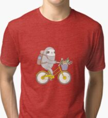 Biking Sloth  Tri-blend T-Shirt