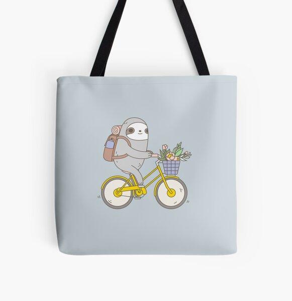 Biking Sloth  All Over Print Tote Bag