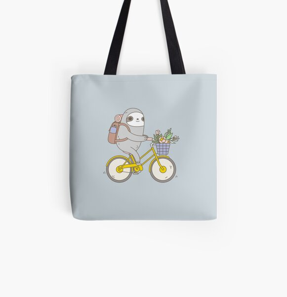 Biking Sloth  All Over Print Tote Bag